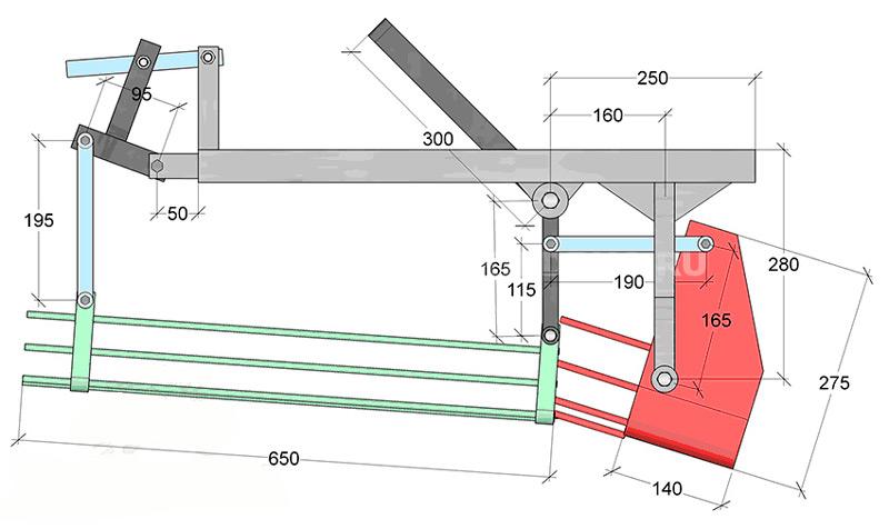 Схема картофелекопалки для мотоблока грохотного типа